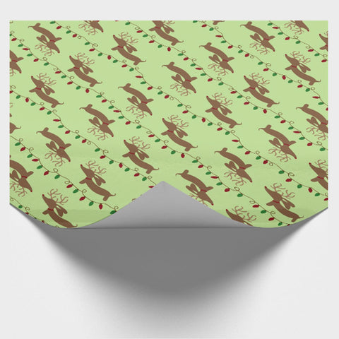 Brown Reindeer Dachshund & Holiday Lights Wrapping Paper
