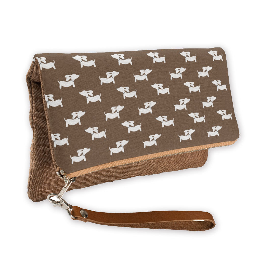 Brown Dachshund Fold-Over Clutch - The Smoothe Store - 1