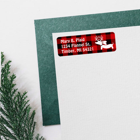 Reindeer Dachshund Christmas Return Address Labels, The Smoothe Store