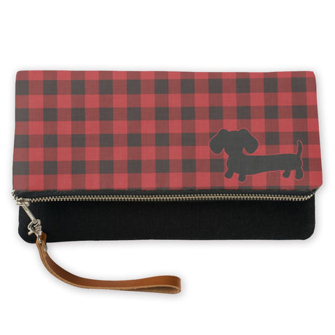 Buffalo Plaid Dachshund Fold-Over Clutch, The Smoothe Store