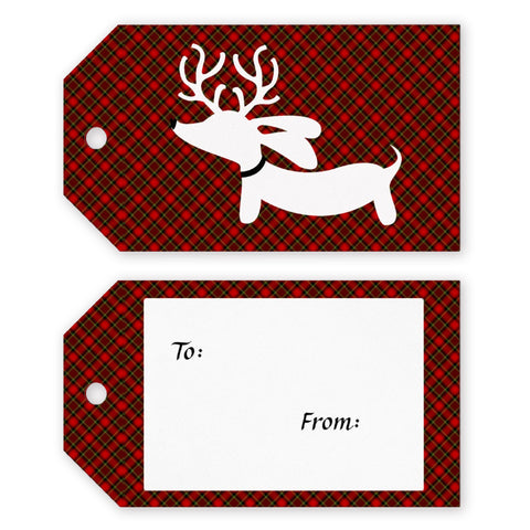Plaid Reindeer Doxie Christmas Gift Tags