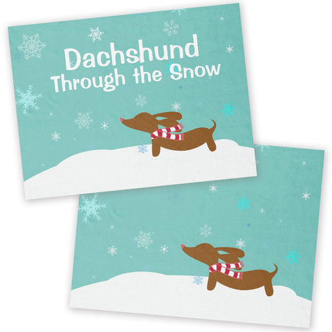 Wiener Wonderland Fleece Dachshund Snow Blanket