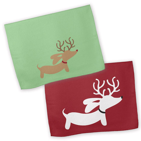 Christmas Weendeer Dachshund Kitchen Dish Towels