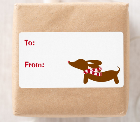 Dachshund Christmas Gift Labels | 8 per sheet
