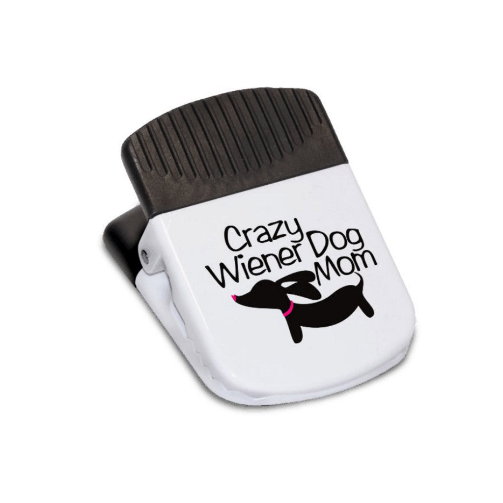 Crazy Wiener Dog Mom Magnetic Fridge or Bag Clip, The Smoothe Store