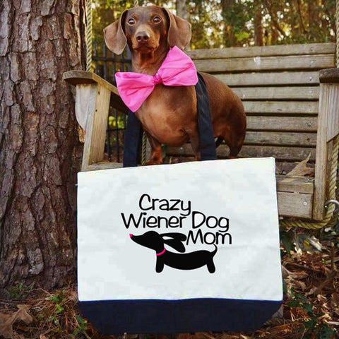 Crazy Wiener Dog Mom Dachshund Tote Bags, The Smoothe Store