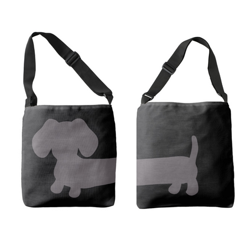 Cross-Body Gray and Black Dachshund Bag