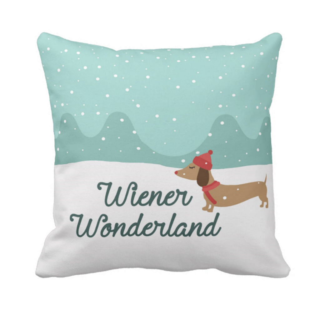Wiener Wonderland Snow Dachshund Holiday Accent Pillow