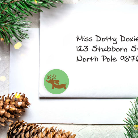 Dachshund Christmas Card Envelope Seals