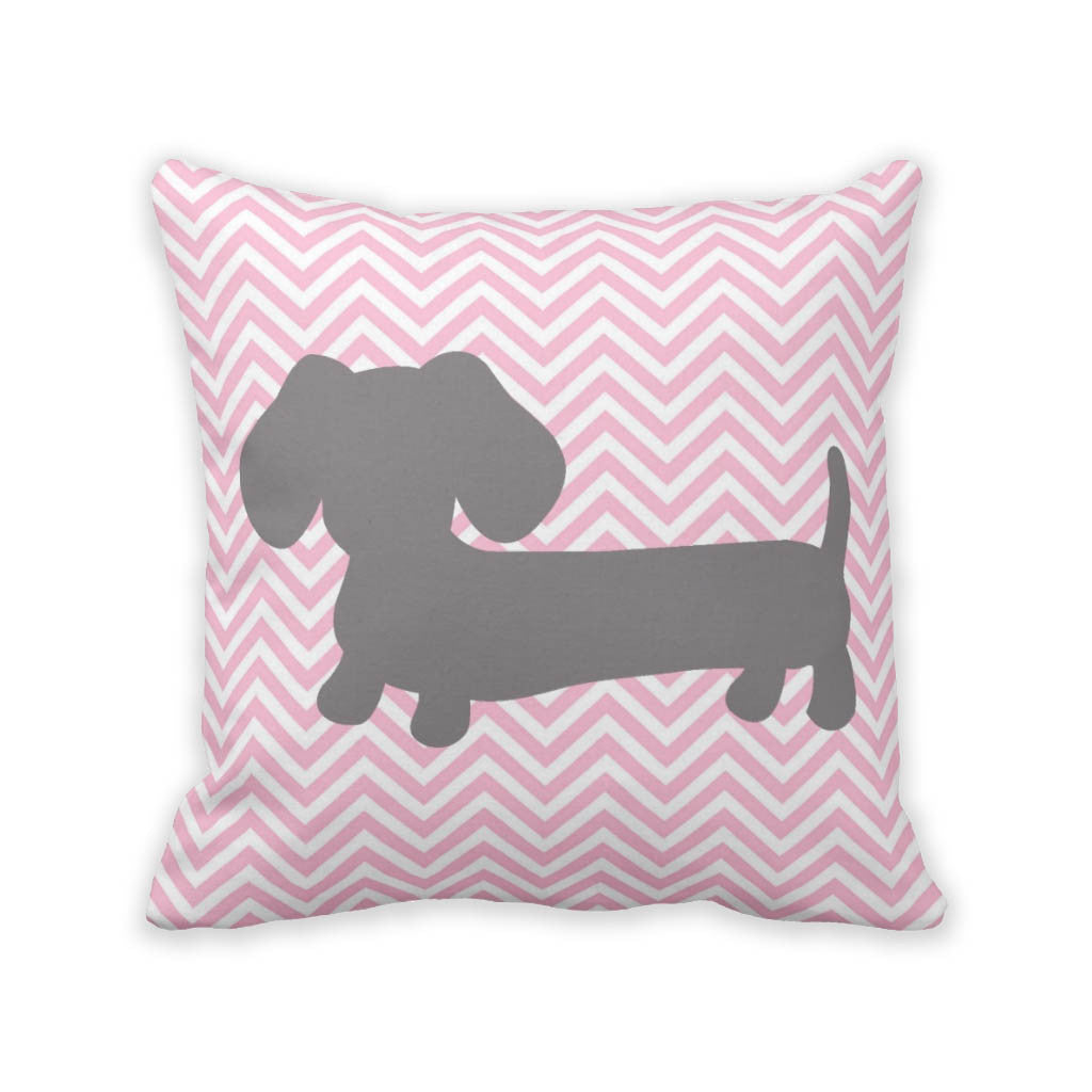 Pink & Gray Chevron Dachshund Pillow, The Smoothe Store