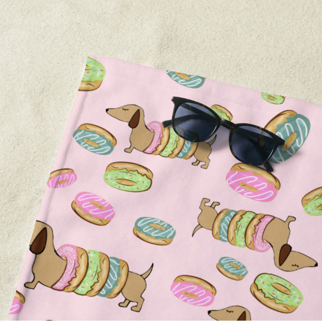 Dachshunds and Donuts Beach Towel, The Smoothe Store
