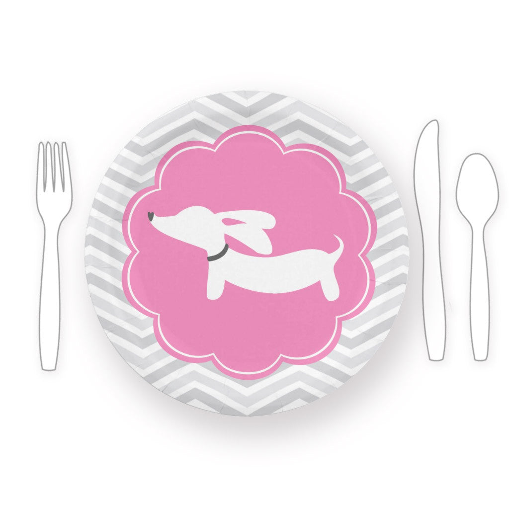 Dachshund Themed Baby Shower Paper Plates Blue Or Pink The Smoothe