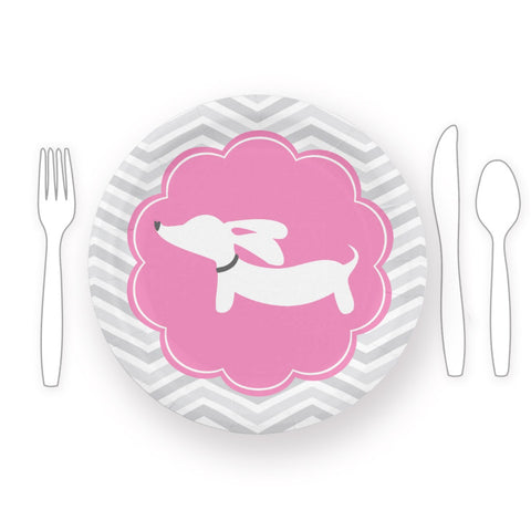 Dachshund Themed Baby Shower Paper Plates Blue or Pink, The Smoothe Store