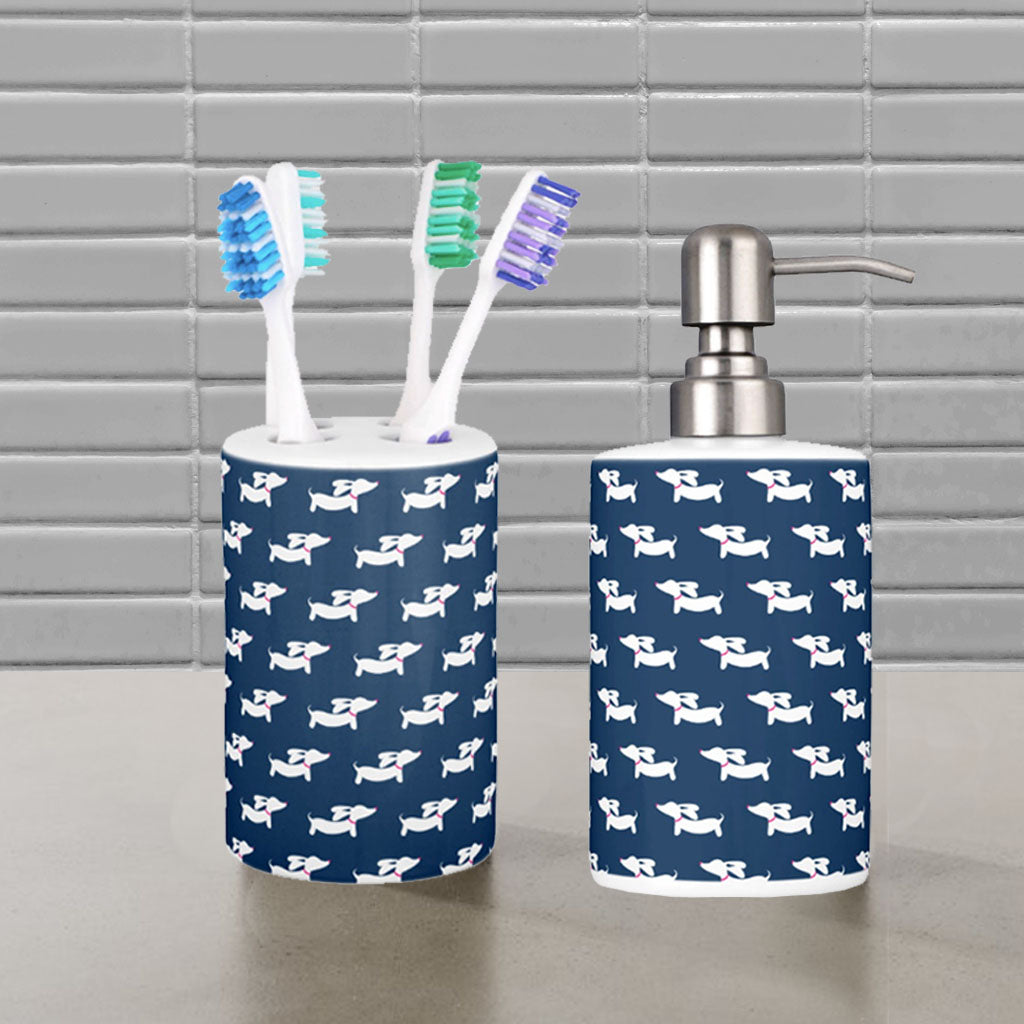 . Dachshund Bathroom Toothbrush Holder and Soap Dispenser Set