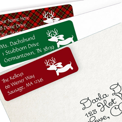 Reindeer Dachshund Christmas Return Address Labels