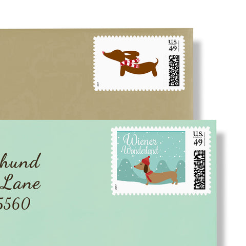 Dachshund Christmas Wiener Wonderland Postage Stamps, The Smoothe Store