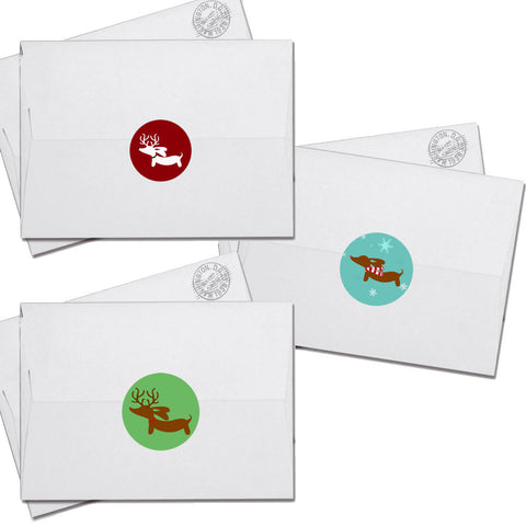 Dachshund Christmas Card Envelope Seals, The Smoothe Store