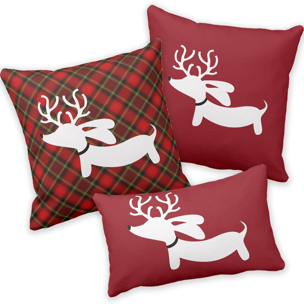 red plaid christmas dachshund wiener dog accent pillow - reindeer dachshund holiday accent pillows  the smoothe store