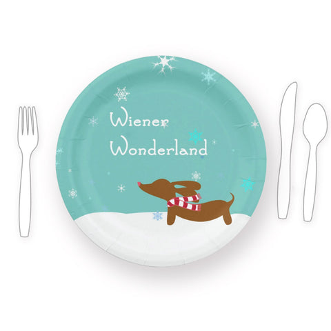 Wiener Wonderland Christmas Paper Plates, The Smoothe Store