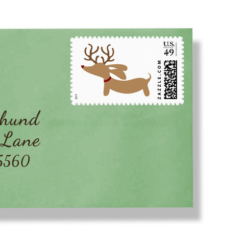 Reindeer Dachshund Holiday Postage Stamps, The Smoothe Store