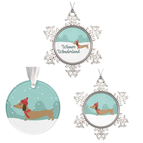 Dachshund Through the Snow Christmas Tree Ornaments