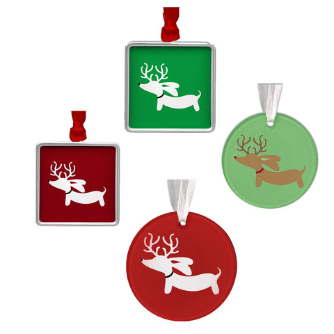 Reindeer Doxie Christmas Tree Ornaments