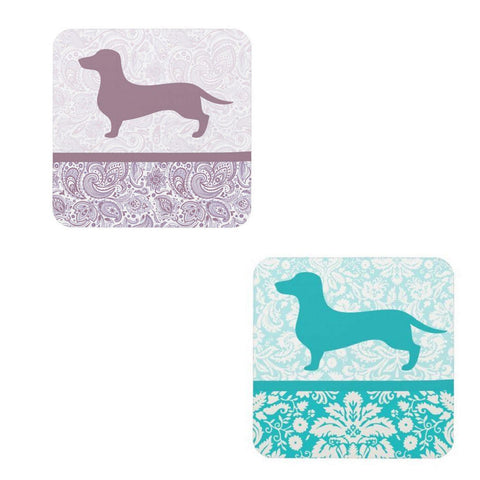 Floral or Paisley Dachshund Drink Coaster Set