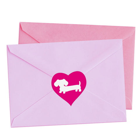 Red or Pink Heart Dachshund Envelope Seals