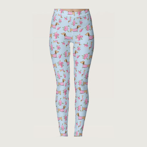 Wiener Dog Floral Leggings
