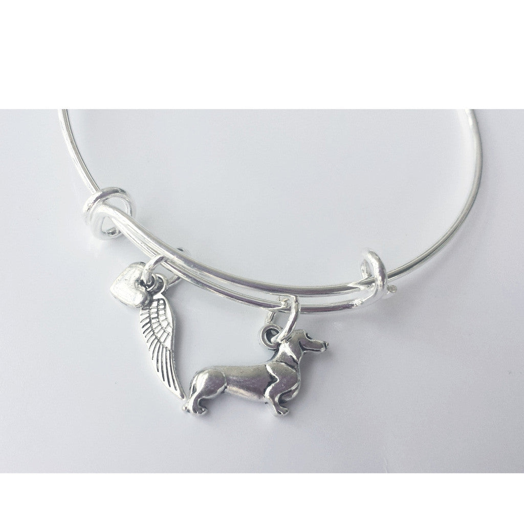 Dachshund Memorial Bangle Charm Bracelet, The Smoothe Store