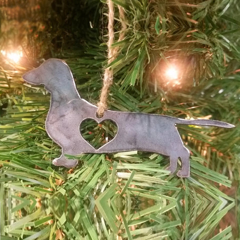 Rustic Dachshund Steel Christmas Ornament
