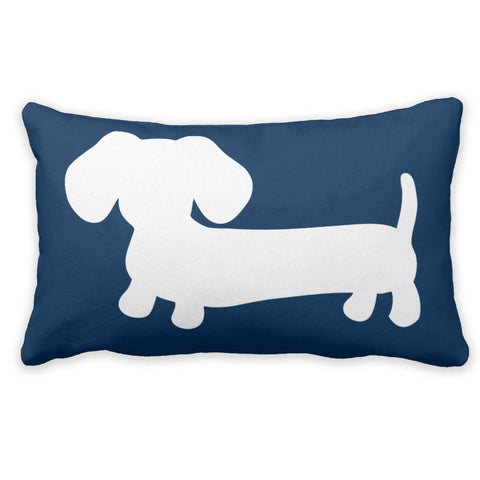 White & Navy Dachshund Pillow - The Smoothe Store - 3