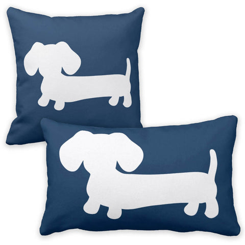 White & Navy Dachshund Pillow