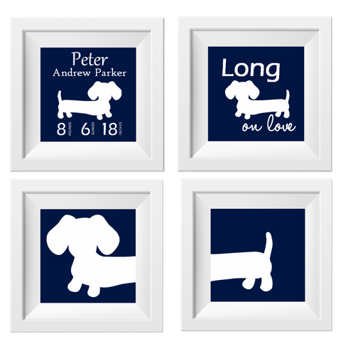 Navy Dachshund Nursery Art Prints