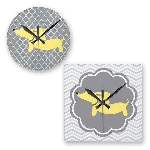 Dachshund Wall Clocks - Yellow & Gray