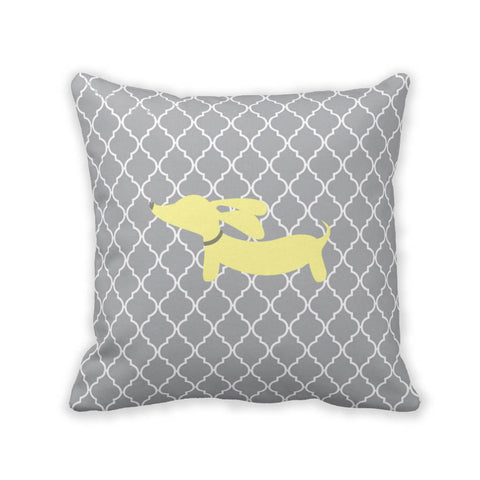 Yellow & Gray Wiener Dog Pillow - The Smoothe Store - 3