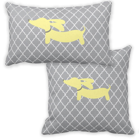 Yellow & Gray Wiener Dog Pillow - The Smoothe Store - 1