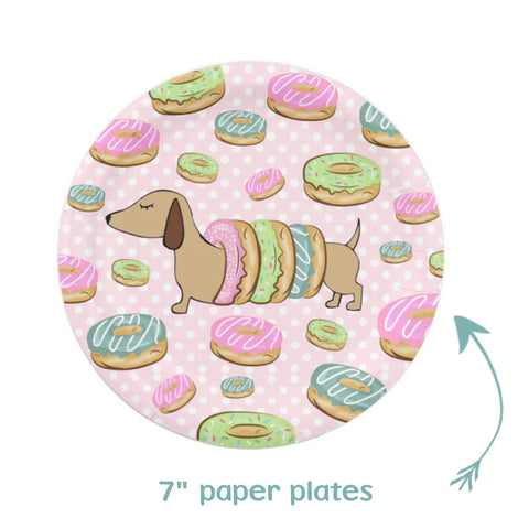 Doxies and Donuts Paper Party Plates