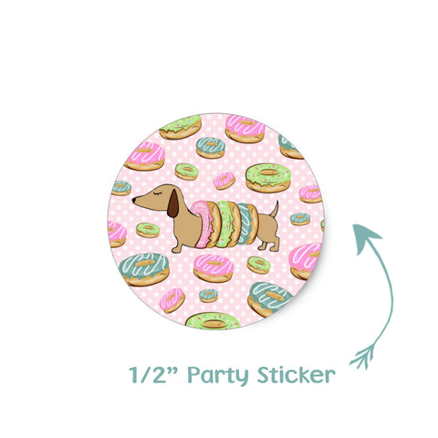 Dachshund & Donuts Party Stickers, The Smoothe Store