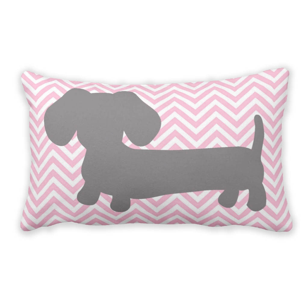 pink  gray chevron dachshund pillow – the smoothe store - pink  gray chevron dachshund pillow  the smoothe store
