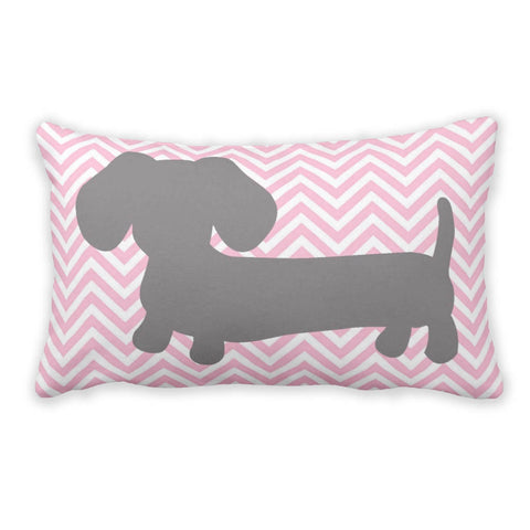Pink & Gray Chevron Dachshund Pillow - The Smoothe Store - 3