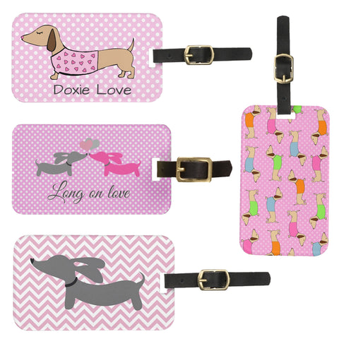 Doxie Luggage Tag in Cheerful Cute Pink
