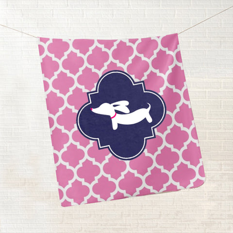 Pink Dachshund Fleece Blanket