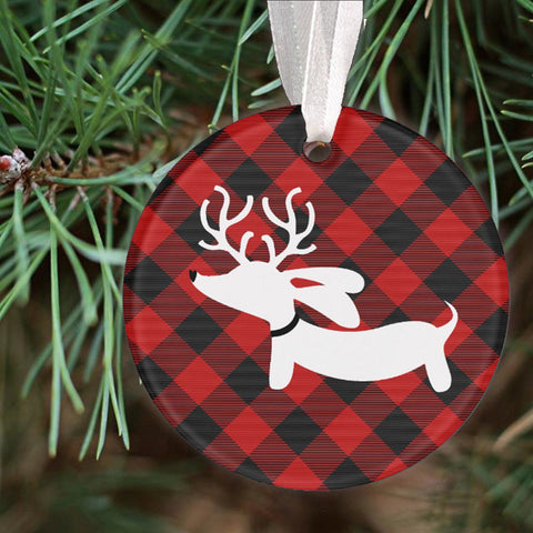 Buffalo Plaid Dachshund Christmas Tree Ornament - The Smoothe Store - 2