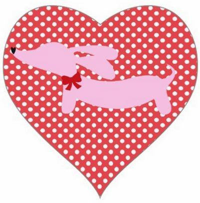 Pink Dachshund Heart Shaped Stickers
