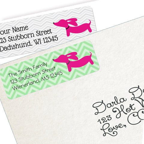 Pink Dachshund Return Address Labels