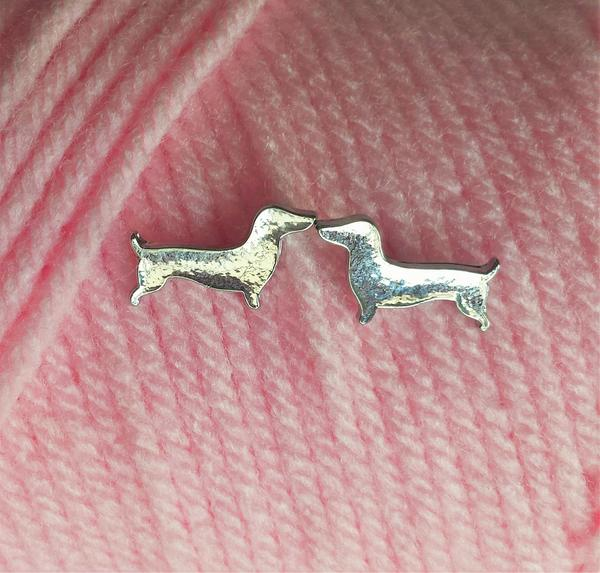 Dachshund Earrings - Silver Tone Doxie Studs, The Smoothe Store