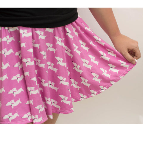 Dachshund Pink Skater Skirt, The Smoothe Store