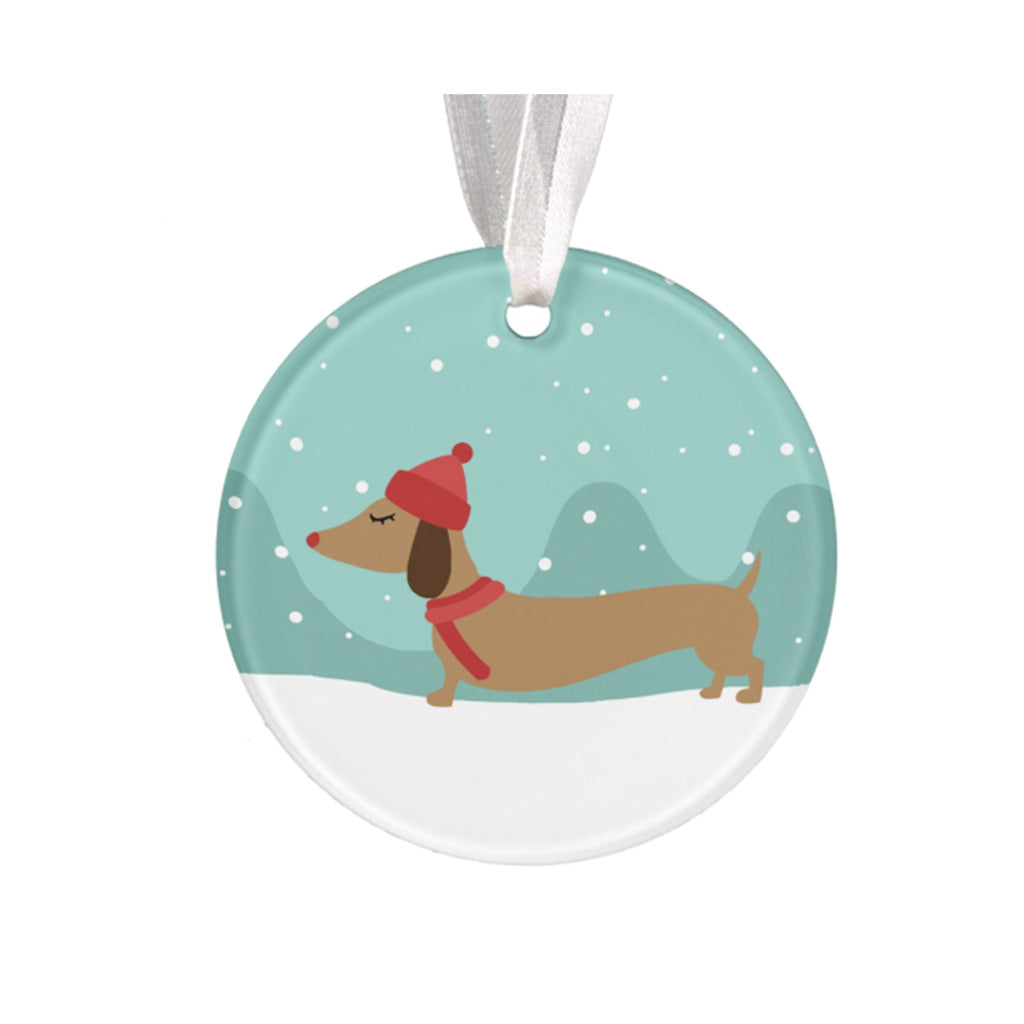 Dachshund Through the Snow Christmas Tree Ornaments, The Smoothe Store