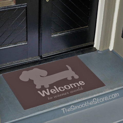 "Wiener Dog ""Welcome to Wiener World"" Doormat (Gray or Tan), The Smoothe Store"